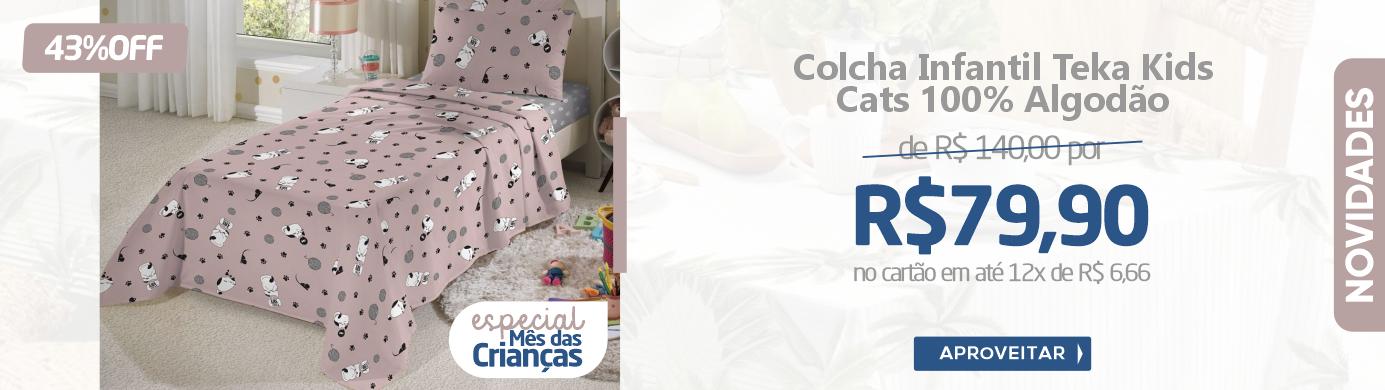 Produto - Colcha Infantil Teka Kids Cats 100% Algodão