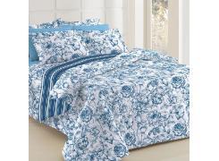 Jogo de Cama Queen Teka Diamante Juliete Listrado Azul Floral 4 Peças 150 Fios