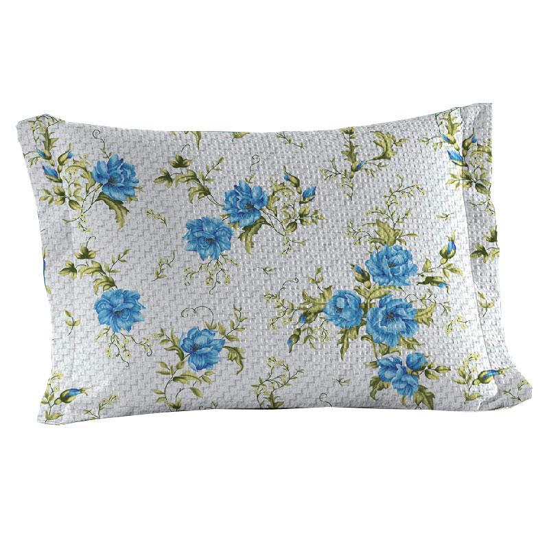 Porta Travesseiro Com Abas Teka Gênova Print Elizabeth Floral Tons Azuis 100% Algodão
