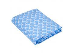 Lençol Queen Teka Diamante Concha Azul com Elástico 150 Fios