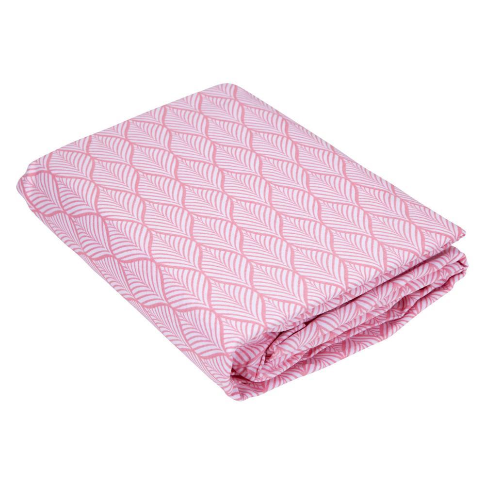 Lençol Solteiro com Elástico Teka Diamante Folha Rosa 150 Fios