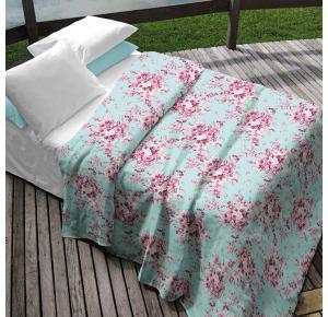 Colcha Teka Queen Azul Estampa Floral 90 fios - Camile