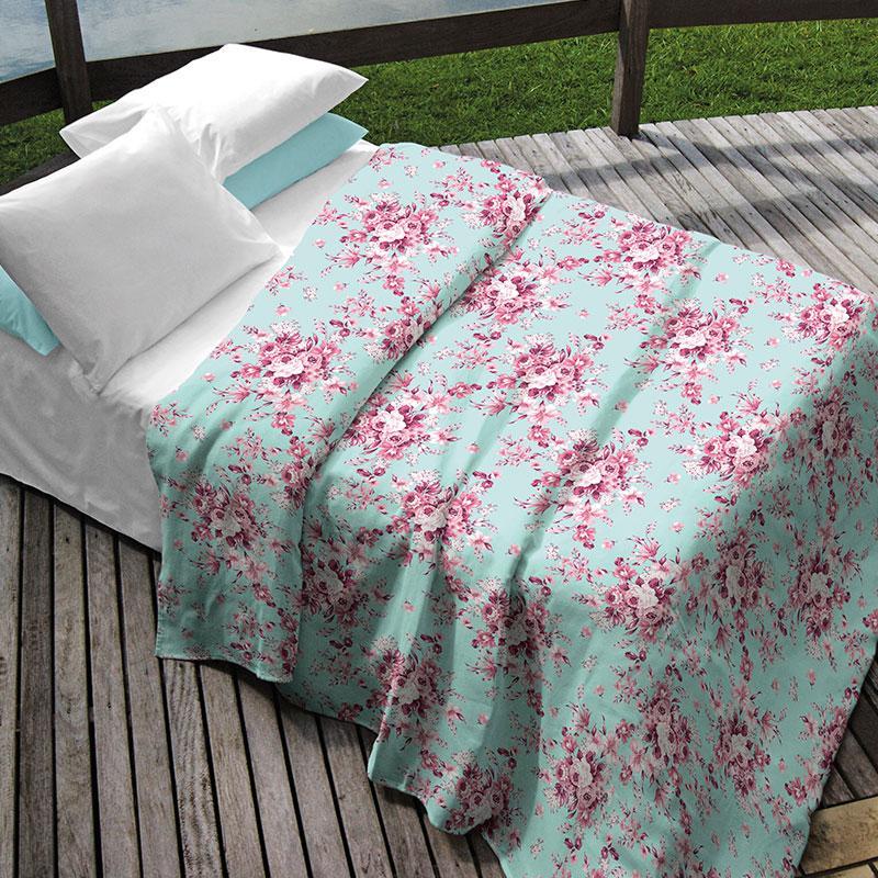 Colcha Solteiro Teka Allegro Plus Camile Floral Tons Azuis 100% Algodão
