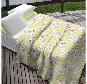Colcha Teka Casal Verde Estampa Floral Estilo Patchwork  - Monica