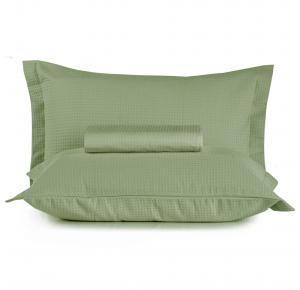 Kit Colcha Queen + Porta Travesseiro Teka Gênova Chá Verde 3 Peças