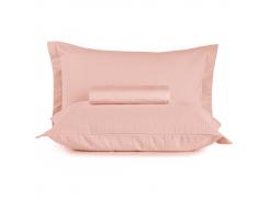 Kit Colcha Queen + Porta Travesseiro Teka Gênova Rosa Nuance 3 Peças
