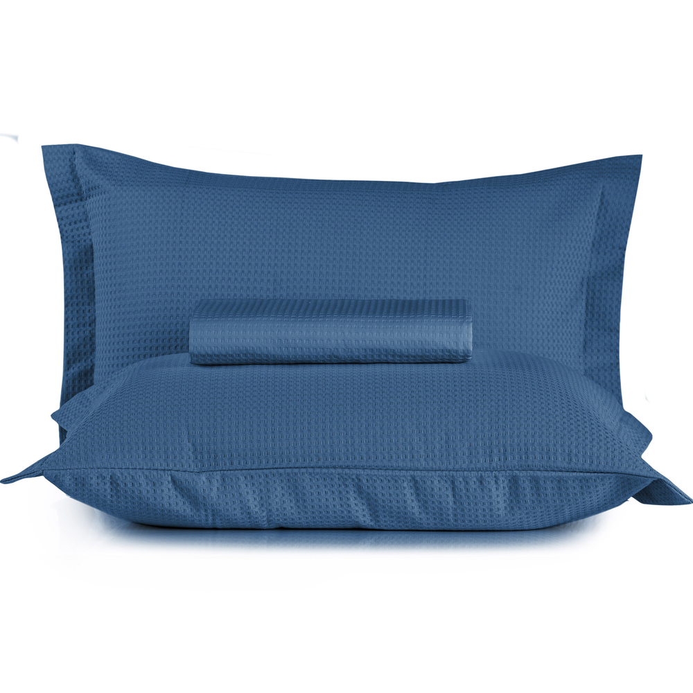 Kit Colcha Casal + Porta Travesseiro Teka Gênova Azul 3 Peças