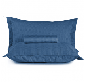 Kit Colcha Queen + Porta Travesseiro Teka Gênova Azul 3 Peças