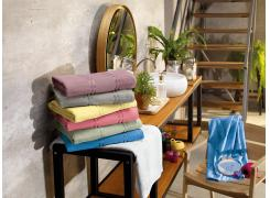 Toalha de Lavabo  para Bordar Teka Criativa Beatrice Azul 360g/m²