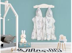 Toalha com Capuz Infantil Teka Kids Elefante Azul 100% Algodão