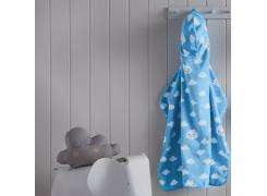 Toalha com Capuz Infantil Teka Kids Nuvens Azul 100% Algodão