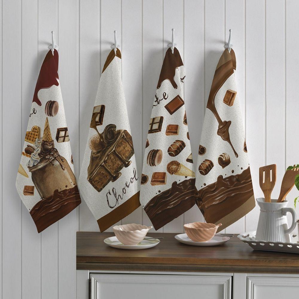 Kit com 3 Panos de Prato Teka Primore Chocolate