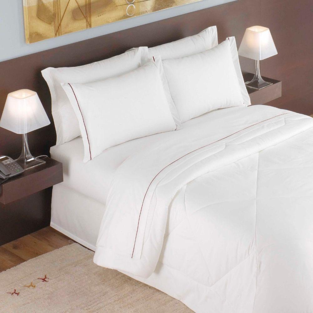 Jogo de Lençol Casal Para Hotel Teka Madri Branco 4 Peças 180 Fios