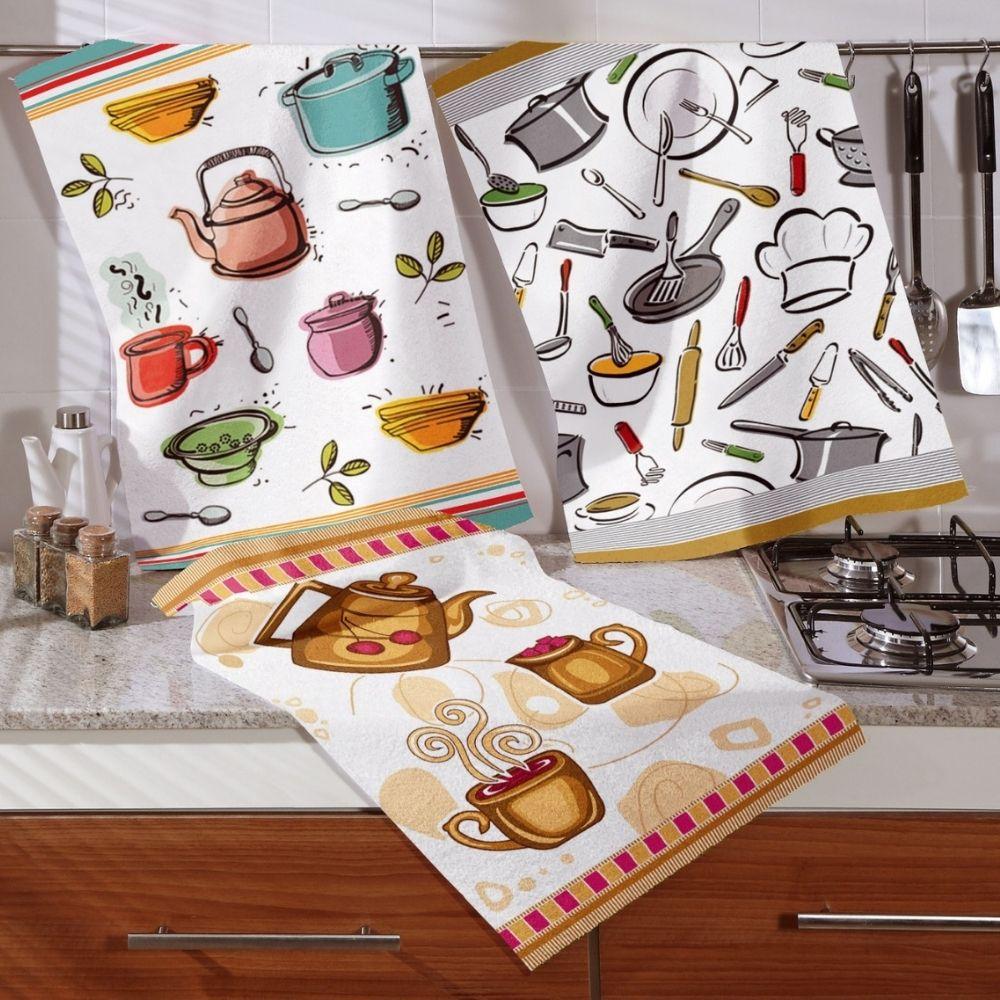 Kit com 3 Panos de Prato Teka Decori Cozinha