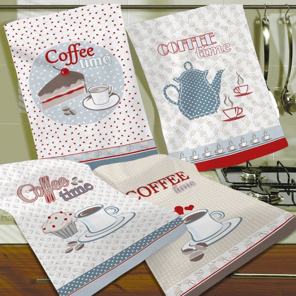 Kit com 4 Panos de Prato Teka Decori Coffee Time