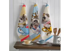 Kit com 3 Panos de Prato Teka Primore Dogs