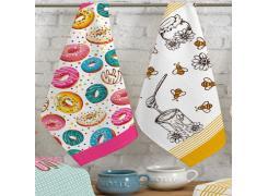 Kit Panos de Prato Teka Art Donuts e Abelhinhas 2 Peças 300 g/m²