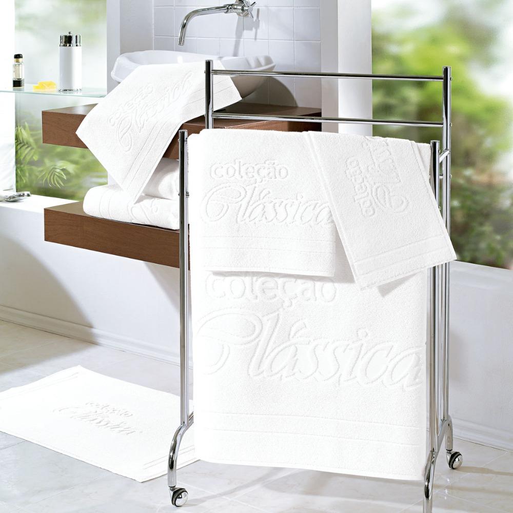 Kit Toalhas Esfregão Teka Clássica Brancas 5 Peças 440g/m²