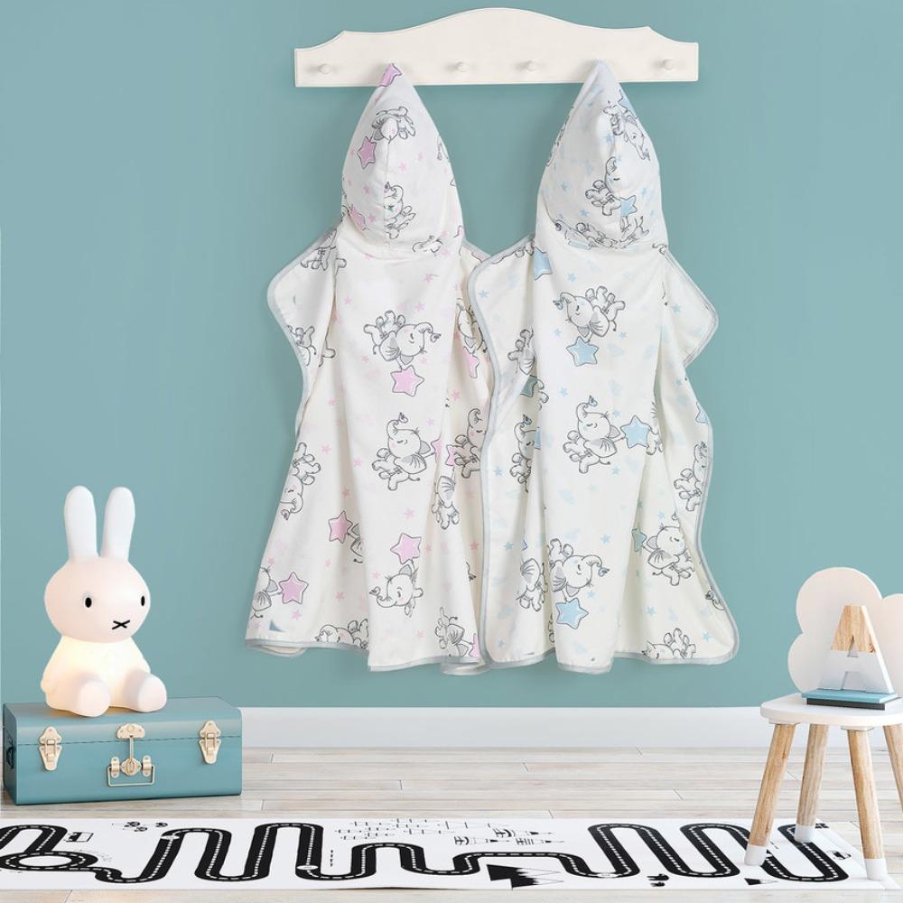 Toalha com Capuz Infantil Teka Kids Elefante Azul 300 g/m²