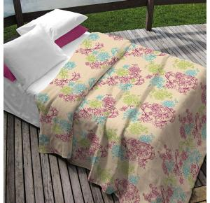 Kit Teka Solteiro Colcha + Porta Travesseiro Creme Floral  Erika (2 peças)