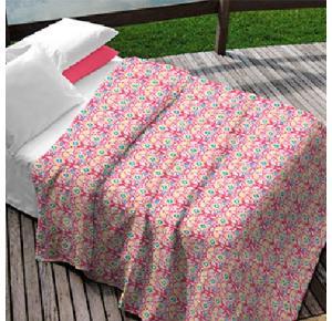 Kit Teka Queen Colcha  + Porta Travesseiro Rosa Estampada Brenda - 90 fios