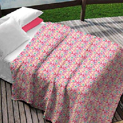 Kit Solteiro Colcha  + Porta Travesseiro Rosa Estampada Brenda (2 peças)