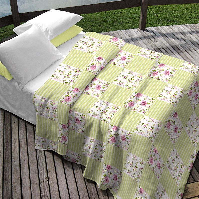Kit Teka Casal Colcha + Porta Travesseiro Amarela Estilo Patchwork - Monica