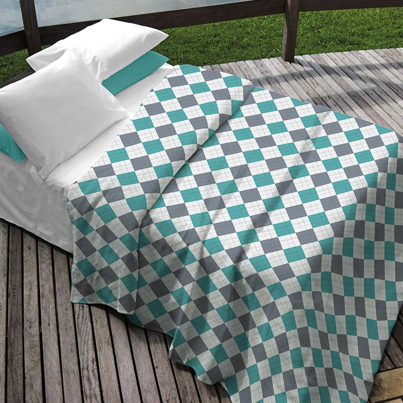 Kit Queen Teka Colcha + Porta Travesseiro Xadrez Cinza e Verde - Heitor - 3 peças