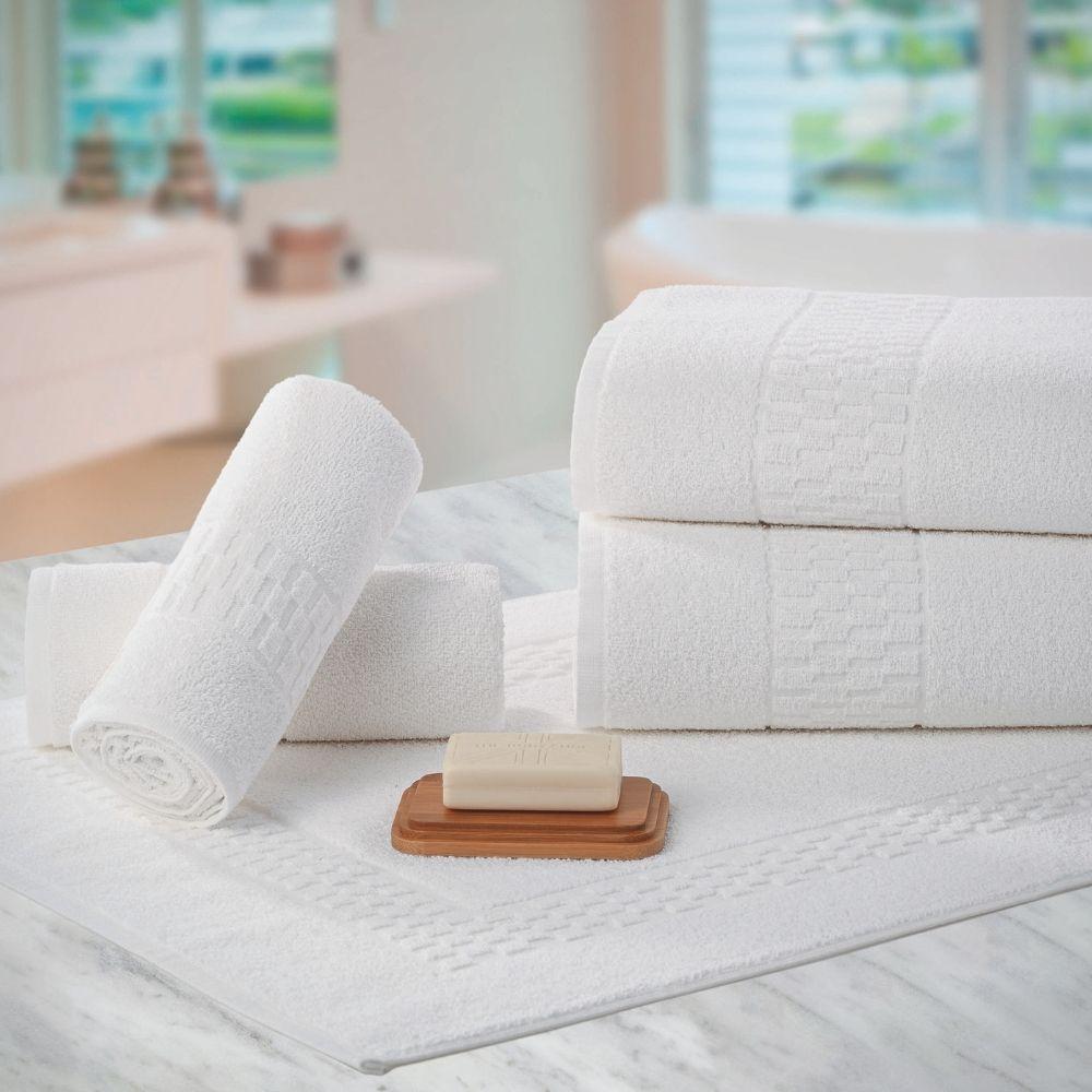 Kit com 10 Toalhas de Rosto Felpudas para Hotel Teka Madri Branca