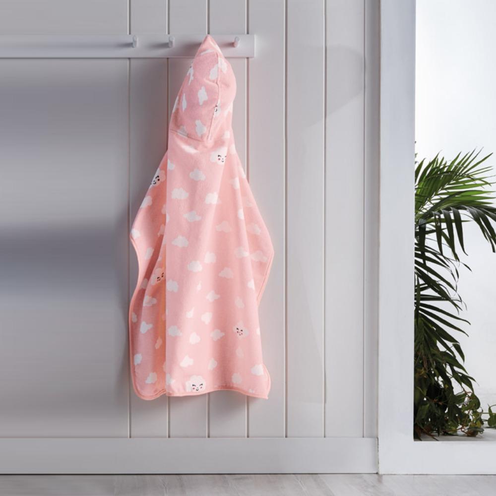 Toalha Infantil com Capuz Teka Kids Nuvens Rosa 300 g/m²