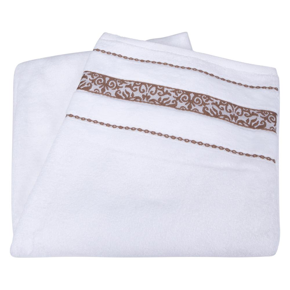 Toalha de Banho Branca com Barra Decorada | Teka - Prima Delicatta Francis