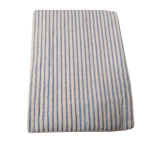 Toalha Banhão Branca com Listras Azul Fitness - 440 g/m²