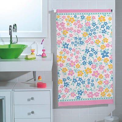 Toalha de Banho Infantil Teka Felpuda Estampa Flores Belle - Coleção Candy