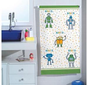 Toalha de Banho Infantil Teka Felpuda Estampa Robôs - Coleção Candy