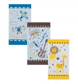 Kit Toalhas Infantis Teka Candy Estampas Variadas 23cm x 41cm 3 Peças